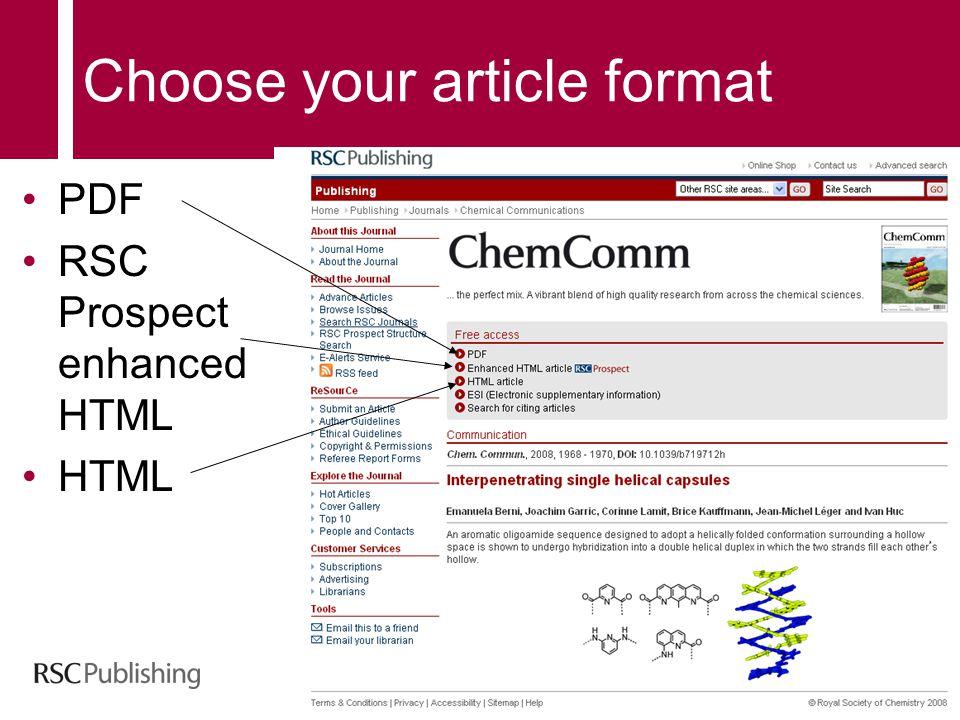 Choose your article format PDF RSC Prospect enhanced HTML HTML