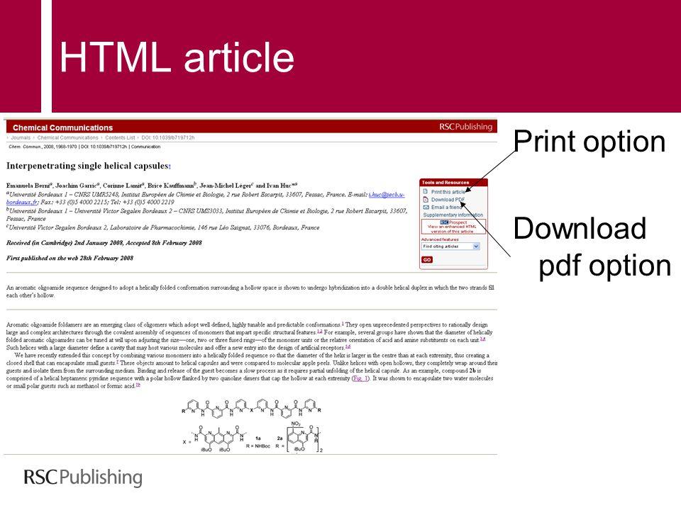 HTML article Print option Download pdf option