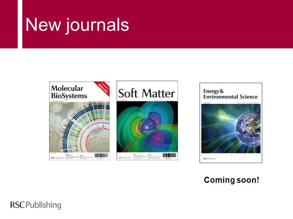 New journals Coming soon!
