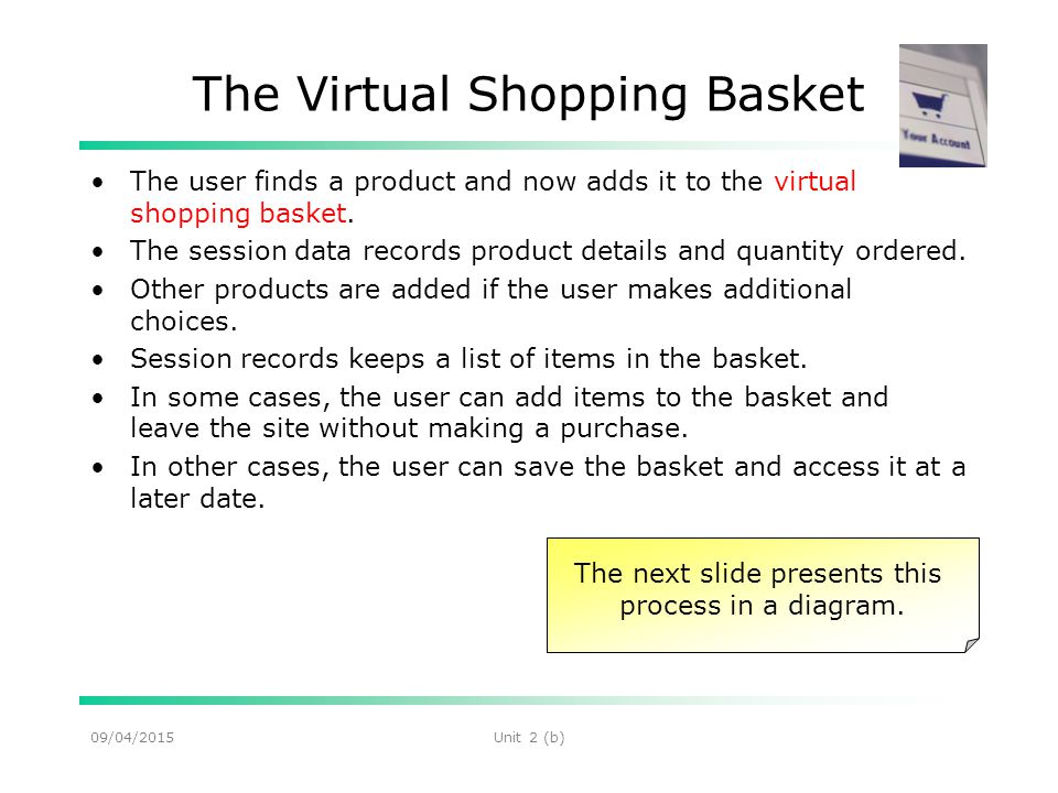 09/04/2015Unit 2 (b) The Virtual Shopping Basket The user finds a product and now adds it to the virtual shopping basket.