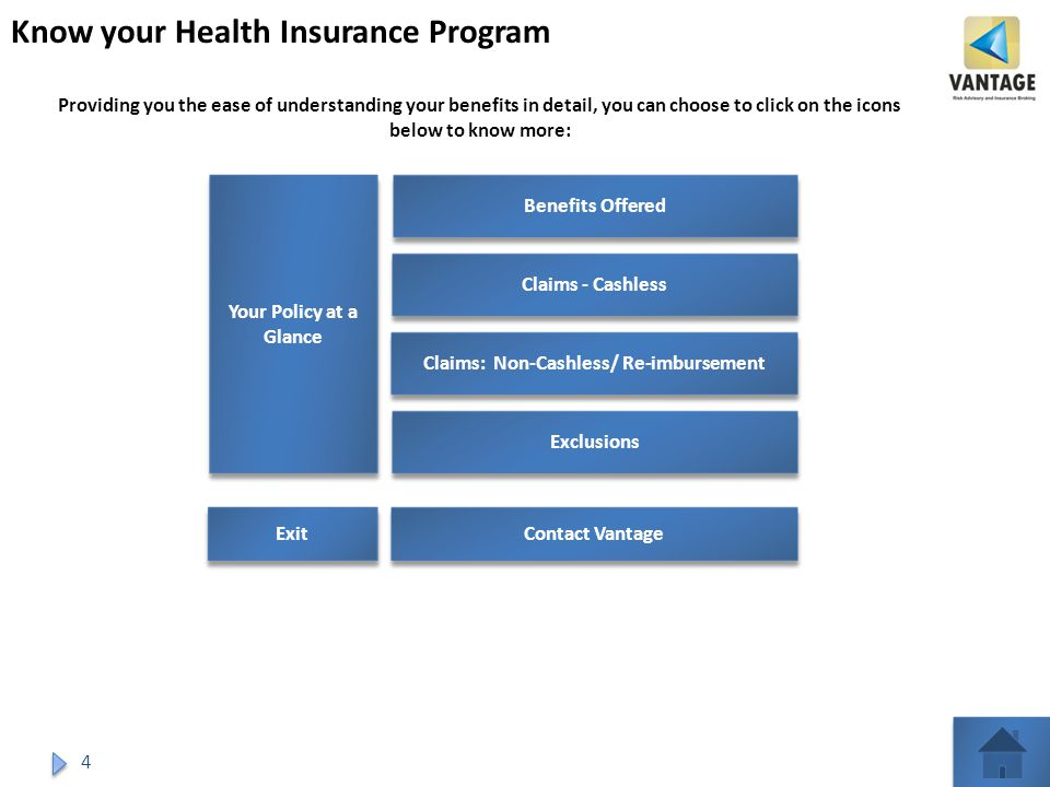 4 Know your Health Insurance Program Benefits Offered Claims - Cashless Claims: Non-Cashless/ Re-imbursement Contact Vantage Exclusions Providing you the ease of understanding your benefits in detail, you can choose to click on the icons below to know more: Your Policy at a Glance Your Policy at a Glance Exit