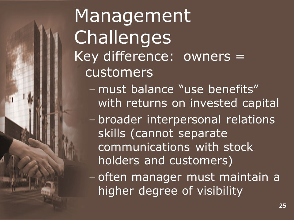 25 Management Challenges Key difference: owners = customers –must balance use benefits with returns on invested capital –broader interpersonal relations skills (cannot separate communications with stock holders and customers) –often manager must maintain a higher degree of visibility