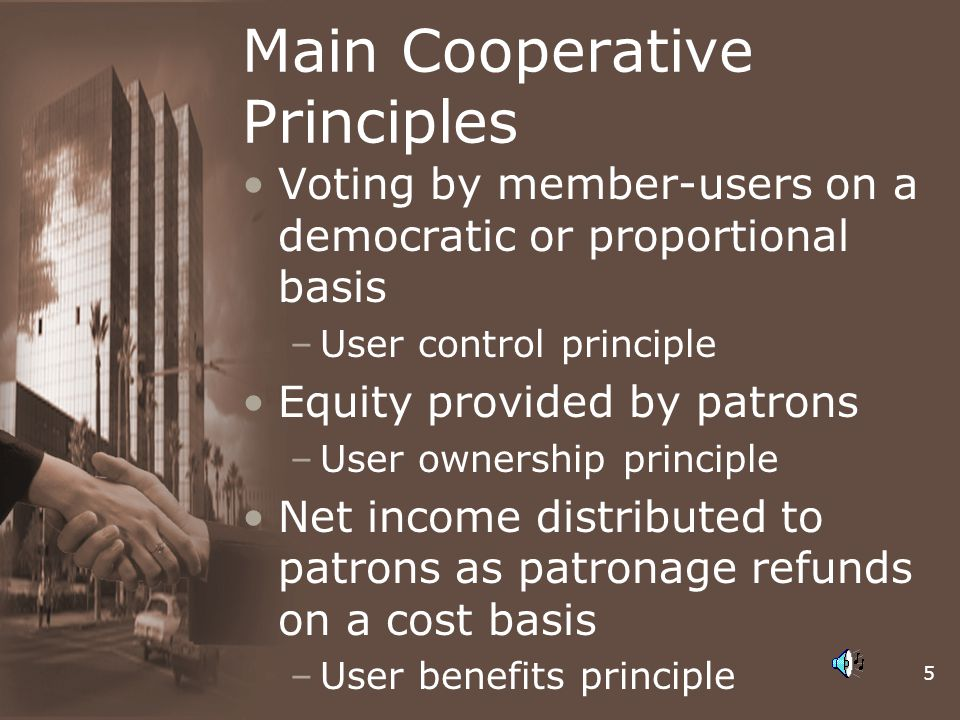 5 Main Cooperative Principles Voting by member-users on a democratic or proportional basis –User control principle Equity provided by patrons –User ow