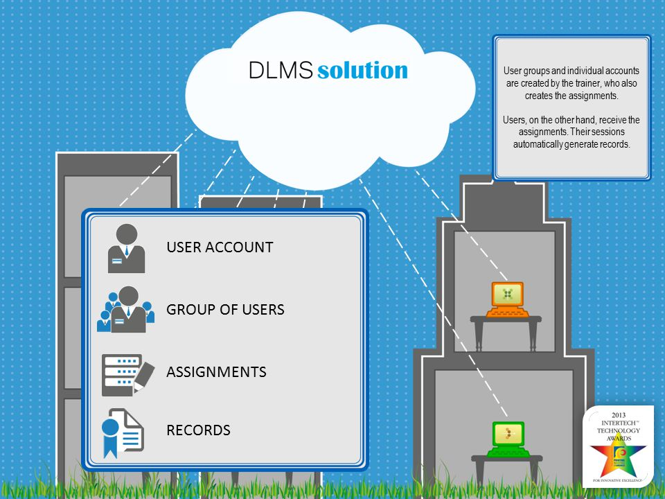 USER ACCOUNT GROUP OF USERS RECORDS ASSIGNMENTS Once stored in the DLMS, the information is available to users, according to the rights assigned by the administrator or trainer.