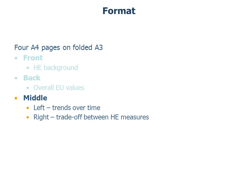 Format Four A4 pages on folded A3 Front HE background Back Overall EU values Middle Left – trends over time Right – trade-off between HE measures