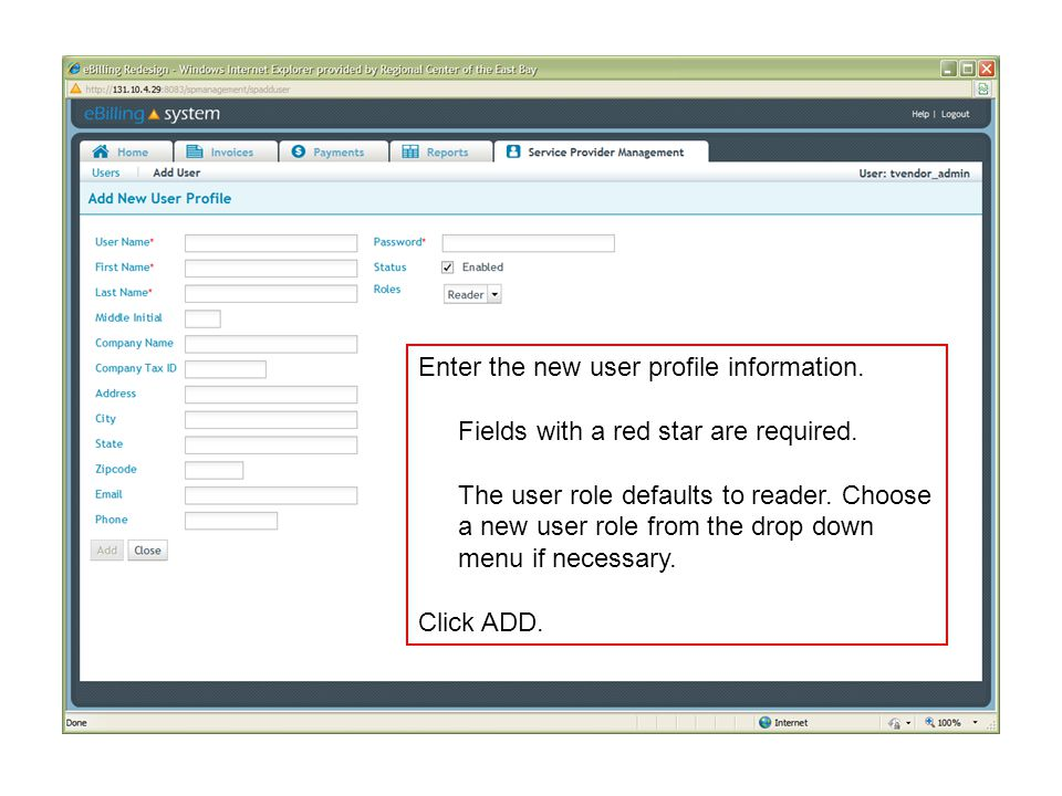 Enter the new user profile information. Fields with a red star are required.