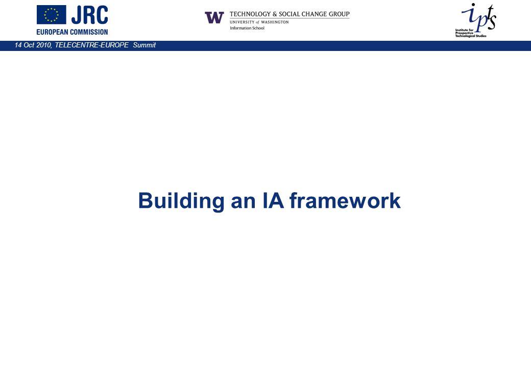 14 Oct 2010, TELECENTRE-EUROPE Summit Building an IA framework