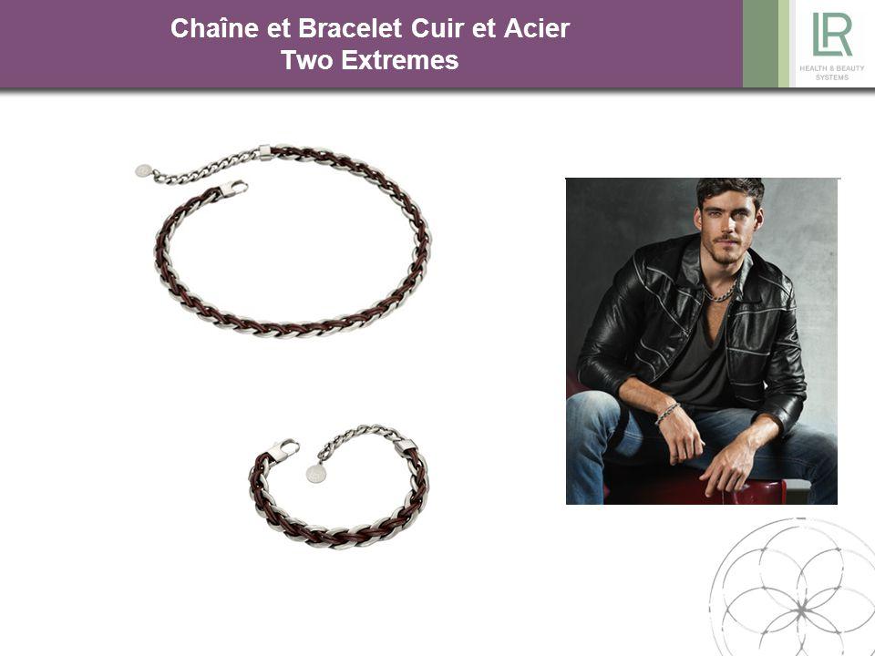 Chaîne et Bracelet Cuir et Acier Two Extremes