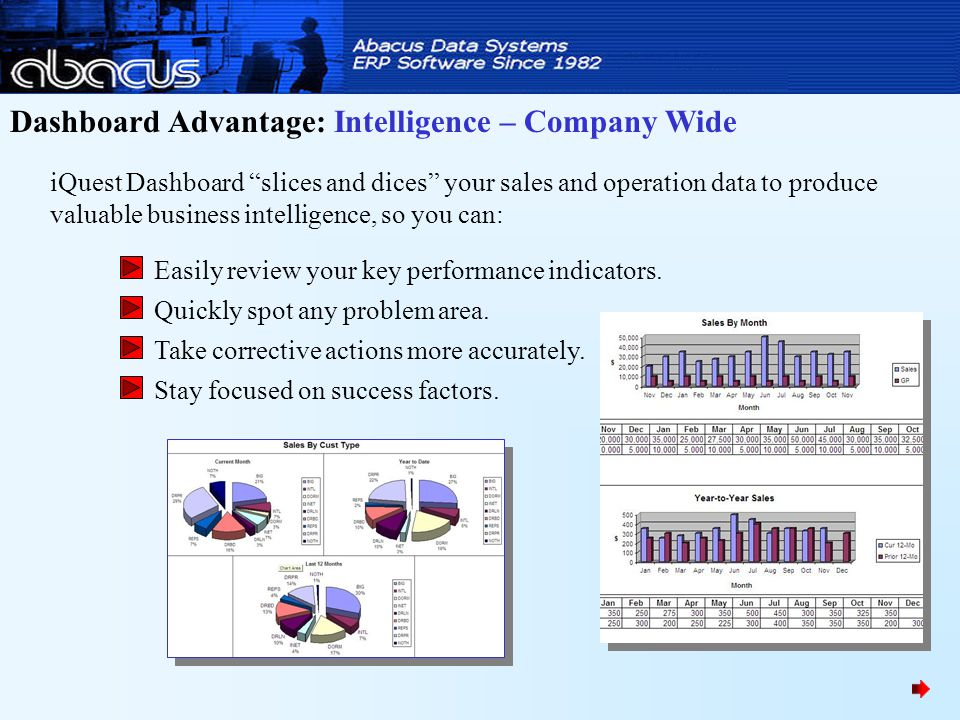 Dashboard Advantage: Intelligence – Company Wide iQuest Dashboard slices and dices your sales and operation data to produce valuable business intelligence, so you can: Easily review your key performance indicators.