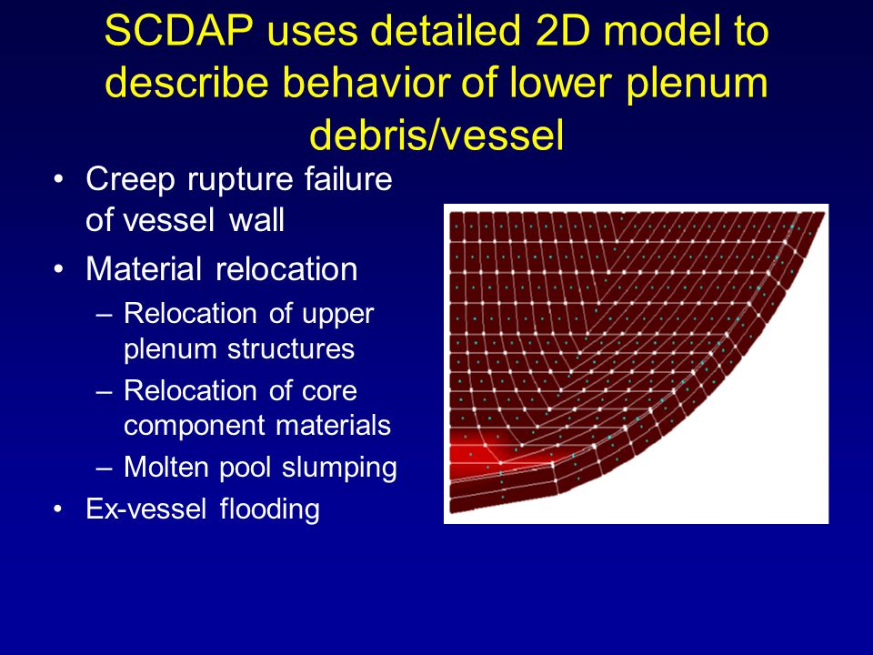 SCDAP uses detailed 2D model to describe behavior of lower plenum debris/vessel Creep rupture failure of vessel wall Material relocation –Relocation o