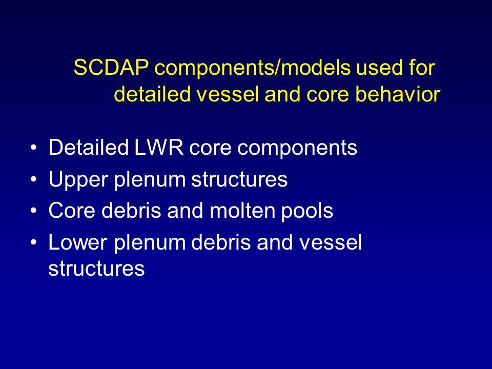 Detailed LWR core components Upper plenum structures Core debris and molten pools Lower plenum debris and vessel structures SCDAP components/models us