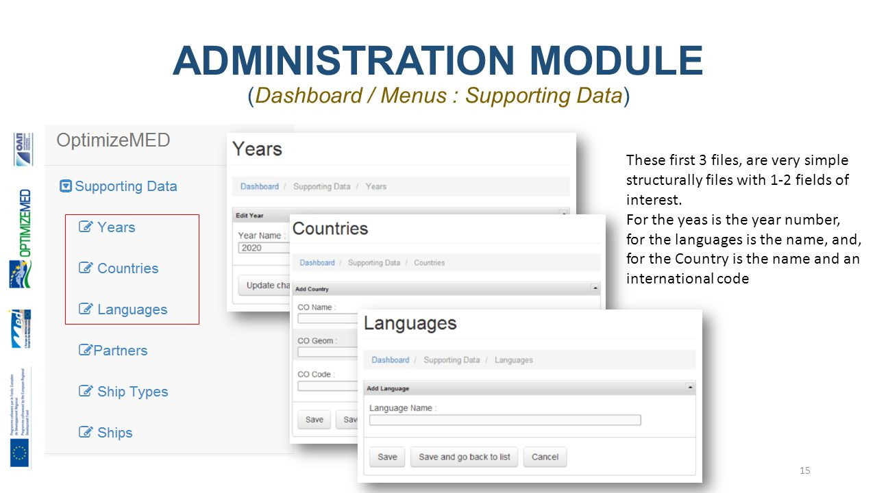 ADMINISTRATION MODULE (Dashboard / Menus : Supporting Data) 15 These first 3 files, are very simple structurally files with 1-2 fields of interest.