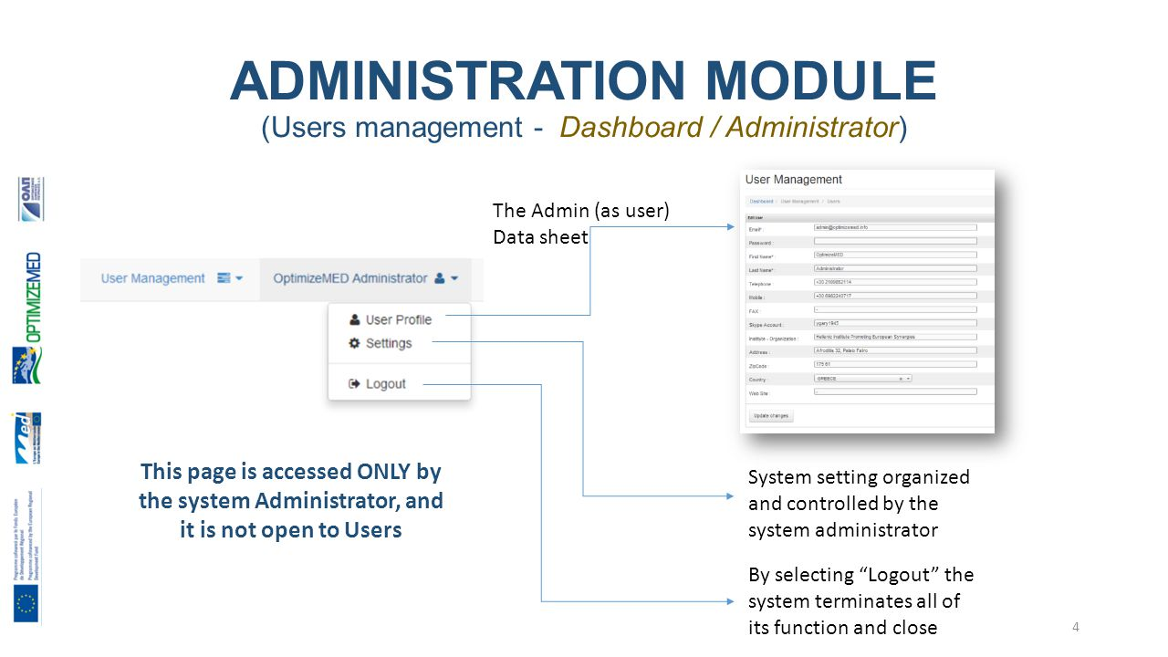 ADMINISTRATION MODULE (Users management - Dashboard / Administrator) The Admin (as user) Data sheet System setting organized and controlled by the system administrator By selecting Logout the system terminates all of its function and close This page is accessed ONLY by the system Administrator, and it is not open to Users 4