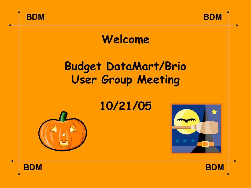BDM Welcome Budget DataMart/Brio User Group Meeting 10/21/05
