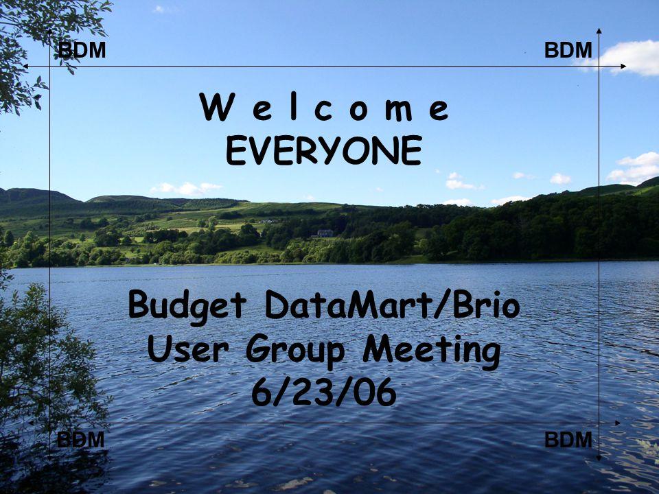 BDM W e l c o m e EVERYONE Budget DataMart/Brio User Group Meeting 6/23/06