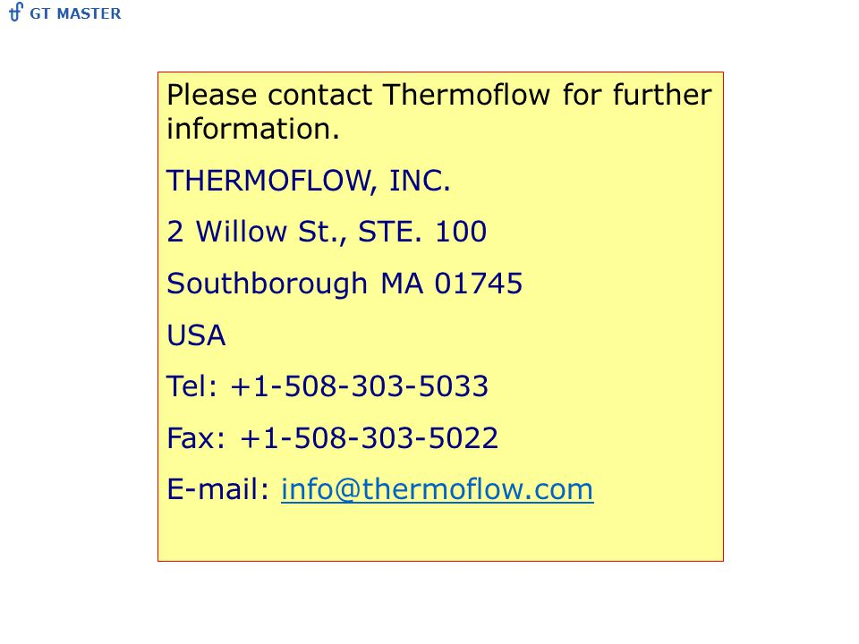 Please contact Thermoflow for further information.