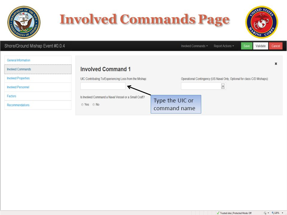 Type the UIC or command name Involved Commands Page