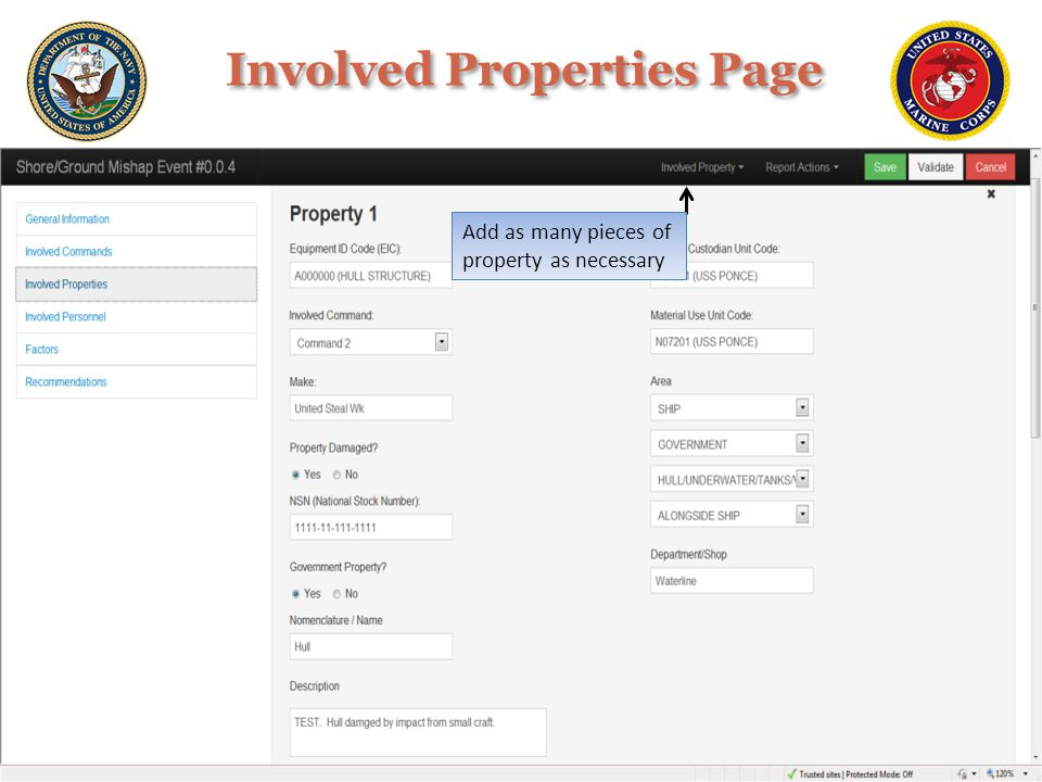 Add as many pieces of property as necessary Involved Properties Page