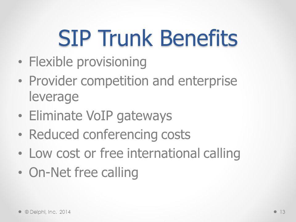 SIP Trunk Connections §14 PSTN Legacy PBX VoIP Gateway SBC T1/E1/PRI Connections SIP Service Provider §IP PBX SBC § © Delphi, Inc.