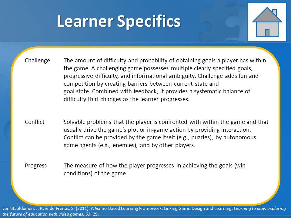 GAME ELEMENTS: Pedagogy GAME ELEMENTS: Learner Specifics GAME ELEMENTS: Representation GAME ELEMENTS: Context Learner Specifics User behavior Player f