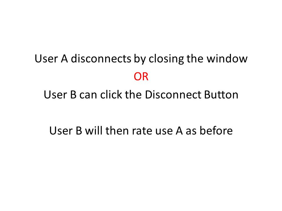 User A disconnects by closing the window OR User B can click the Disconnect Button User B will then rate use A as before