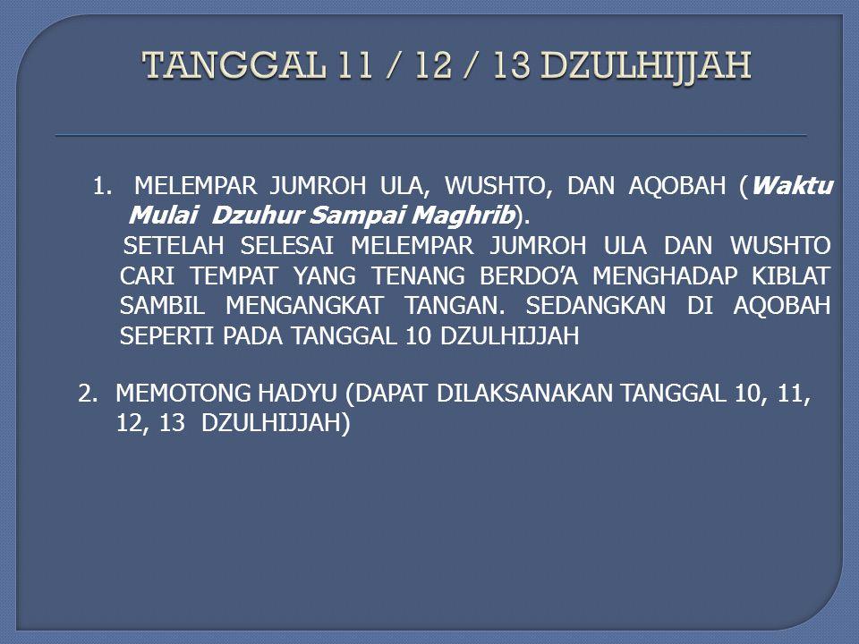 1. MELEMPAR JUMROH ULA, WUSHTO, DAN AQOBAH (Waktu Mulai Dzuhur Sampai Maghrib).