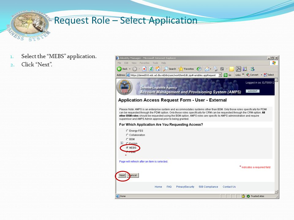 "Request Role – Home Page 1. Click ""Request Role""."