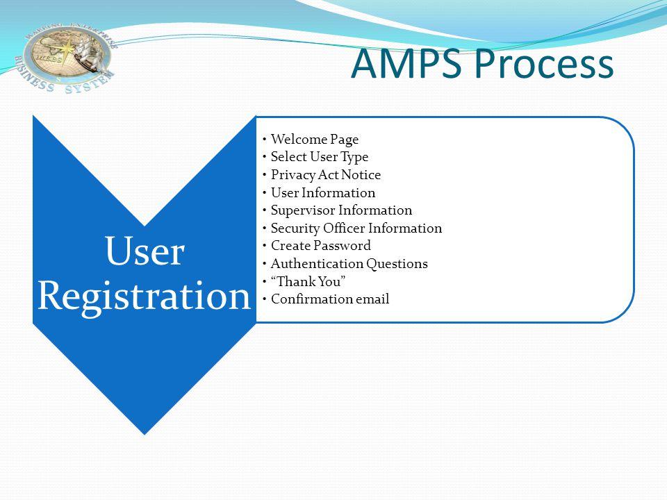 User Registration 1. Note the User ID. 2. Click Leave AMPS Registration .