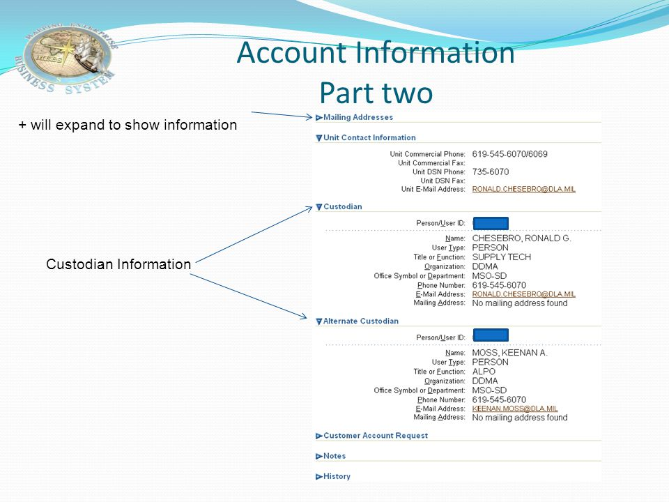 Account Information Part One DODAAC will default, unless you have access to multiple account. You would than input the DODAAC and select search