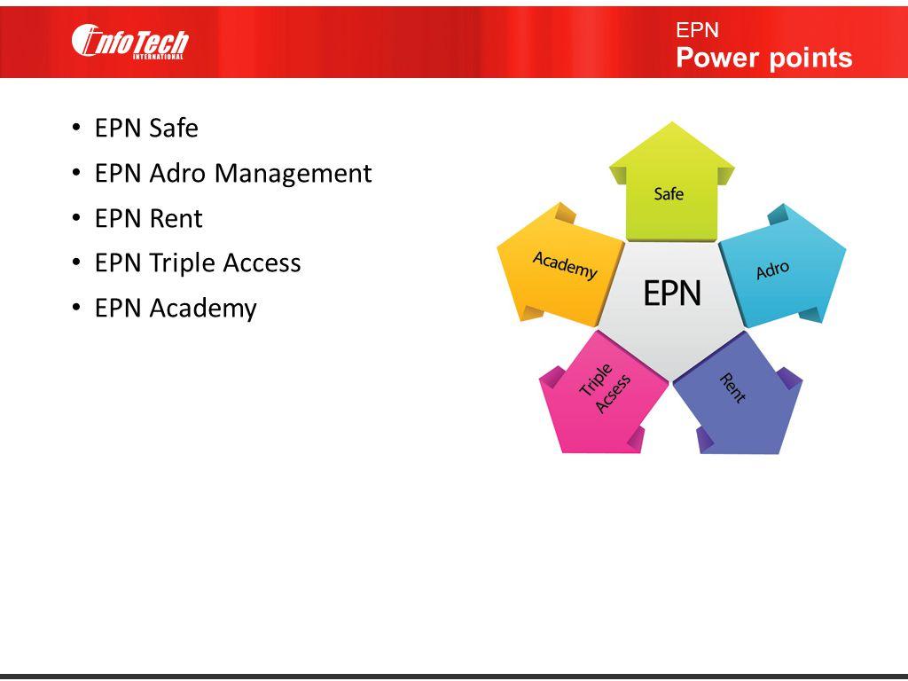 EPN Safe EPN Adro Management EPN Rent EPN Triple Access EPN Academy EPN Power points