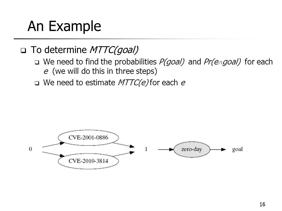 An Example  To determine MTTC(goal)  We need to find the probabilities P(goal) and Pr(e  goal) for each e (we will do this in three steps)  We nee