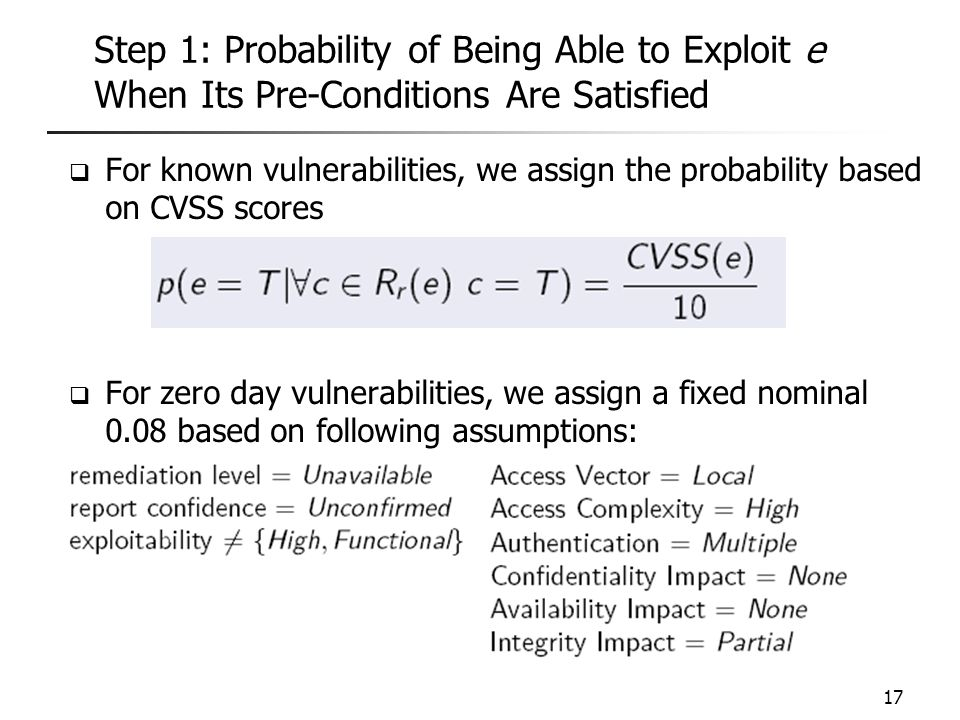 Step 1: Probability of Being Able to Exploit e When Its Pre-Conditions Are Satisfied  For known vulnerabilities, we assign the probability based on C