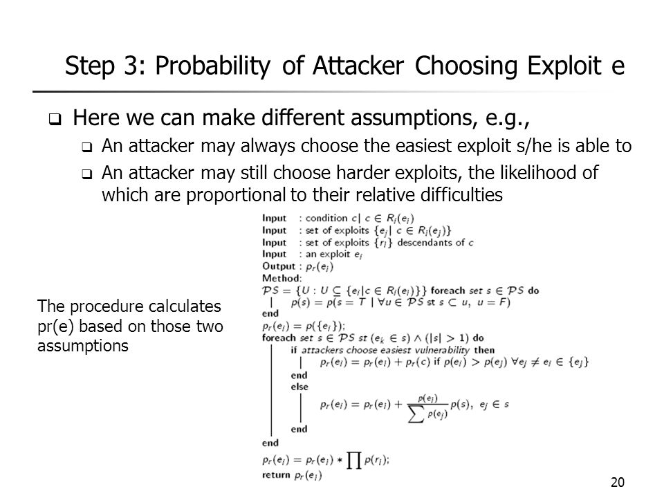 Step 3: Probability of Attacker Choosing Exploit e  Here we can make different assumptions, e.g.,  An attacker may always choose the easiest exploit