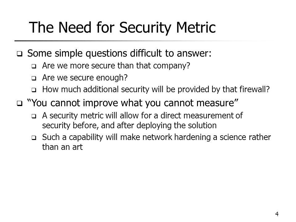 Existing Work  Efforts on standardizing security metric  CVSS by NIST  CWSS by MITRE  Efforts on measuring vulnerabilities  Minimum-effort approaches (Balzarotti et al., QoP'05 and Pamula et al., QoP'06)  PageRank approach (Mehta et al., RAID'06)  Attack surface (Manadhata et al., TSE'11)  MTTC-based approach (Leversage et al., SP'08)  Our previous work (DBSec'07-08, QoP'07-08, ESORICS'10, SRDS'12) 5