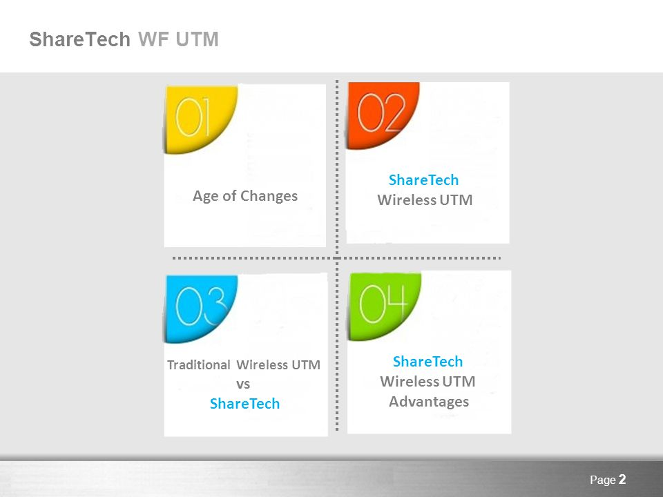 Here comes your footer Page 2 ShareTech WF UTM Age of Changes ShareTech Wireless UTM Traditional Wireless UTM vs ShareTech Wireless UTM Advantages
