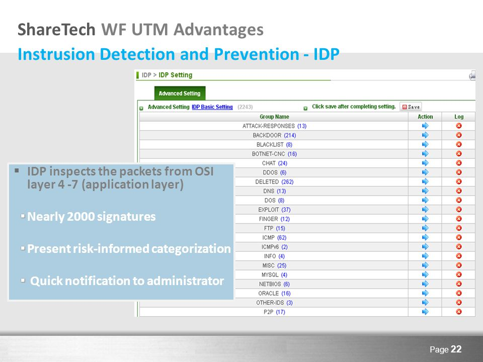 Here comes your footer Page 22 ShareTech WF UTM Advantages Instrusion Detection and Prevention - IDP  IDP inspects the packets from OSI layer 4 -7 (application layer) Nearly 2000 signatures Present risk-informed categorization Quick notification to administrator
