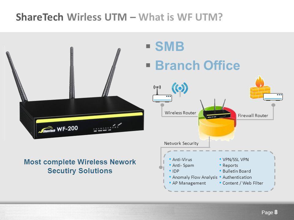 Here comes your footer Page 29 ShareTech WF UTM Specification WF-200WF-300WF-500 Applicable UsersUnder 5050-100 Wireless Network / Antenna3T3R / 3dbi*3 Memory / Flash ram1G / 1G CF1G / 2G CF2G / 2G CF FirewallOOO Outbound / Inbound Load BalanceO / XO / O Anti-Virus / Anti-SpamX / XOO IDP / BotnetX / X O / Option Anomaly IP AnalysisXXO Co-DefenseXXO AP Wireless Management20 units50 units100 units CMSClientClient / Server APP Access ControlOOO Content FilterOOO Network AuthenticationOOO Bulletin BoardOOO Reports XOO VPN / SSL VPNO / XO / O Record XXO Mail AuditXXOption