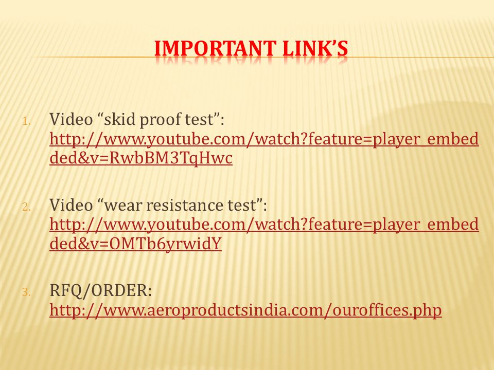 """1. Video """"skid proof test"""": http://www.youtube.com/watch?feature=player_embed ded&v=RwbBM3TqHwc http://www.youtube.com/watch?feature=player_embed ded&"""