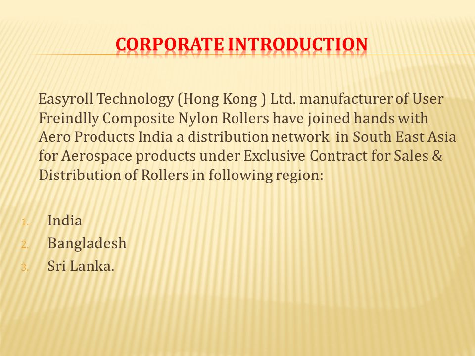 Easyroll Technology (Hong Kong ) Ltd.