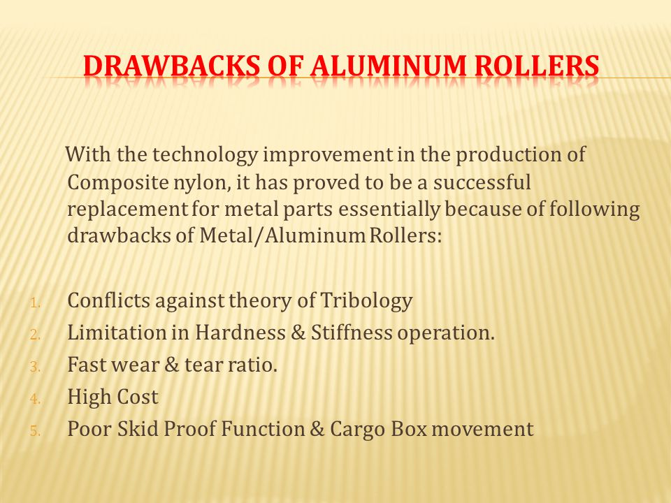 With the technology improvement in the production of Composite nylon, it has proved to be a successful replacement for metal parts essentially because of following drawbacks of Metal/Aluminum Rollers: 1.