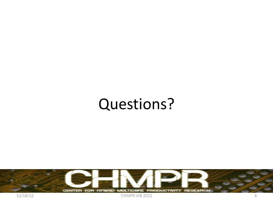 Questions 12/18/12CHMPR IAB 20128