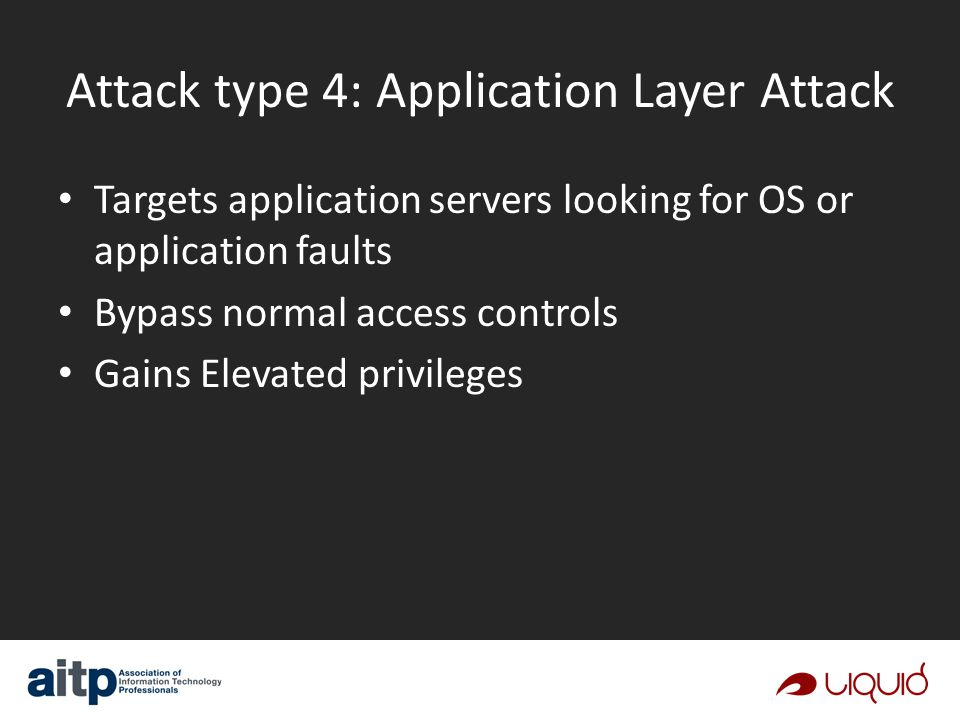 Attack type 4: Application Layer Attack Targets application servers looking for OS or application faults Bypass normal access controls Gains Elevated privileges