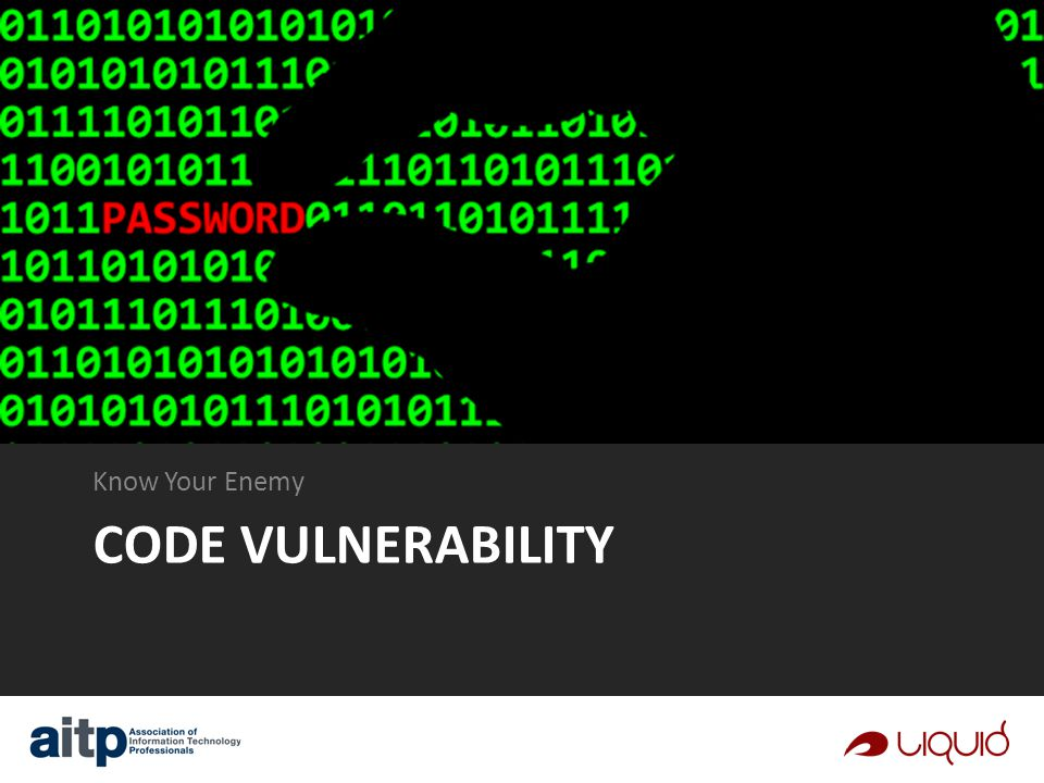 CODE VULNERABILITY Know Your Enemy