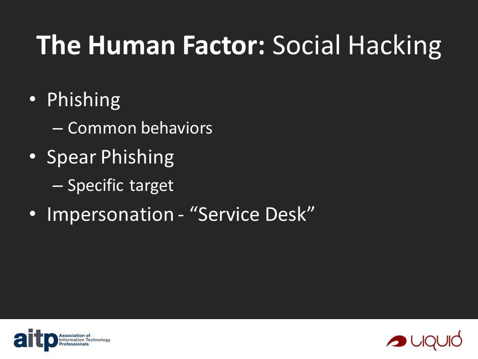 Phishing – Common behaviors Spear Phishing – Specific target Impersonation - Service Desk