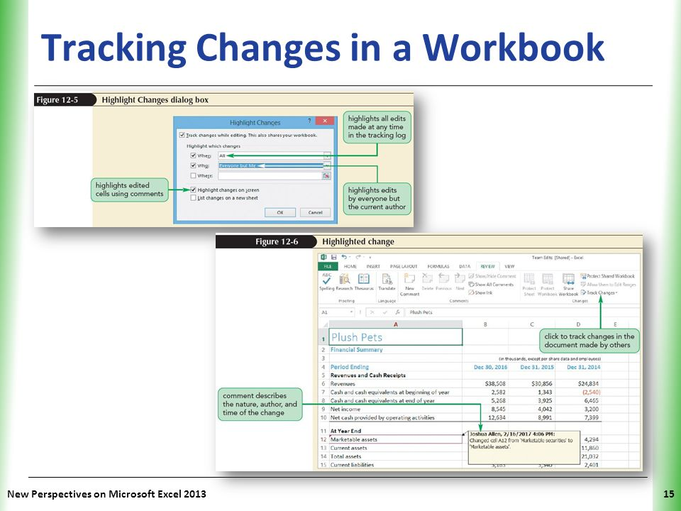 XP Tracking Changes in a Workbook New Perspectives on Microsoft Excel 201315