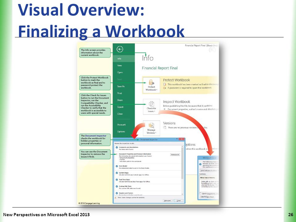 XP Visual Overview: Finalizing a Workbook New Perspectives on Microsoft Excel 201326