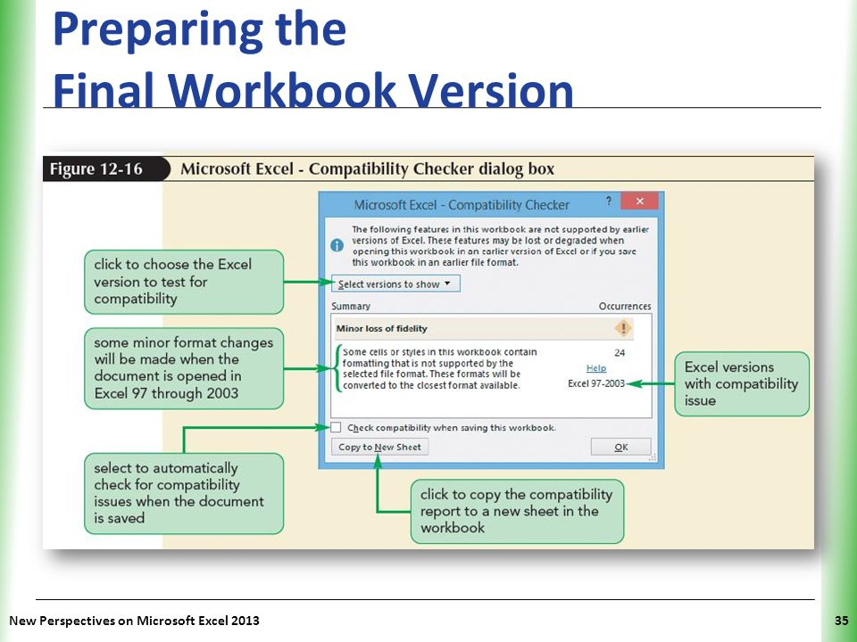 XP Preparing the Final Workbook Version New Perspectives on Microsoft Excel 201335