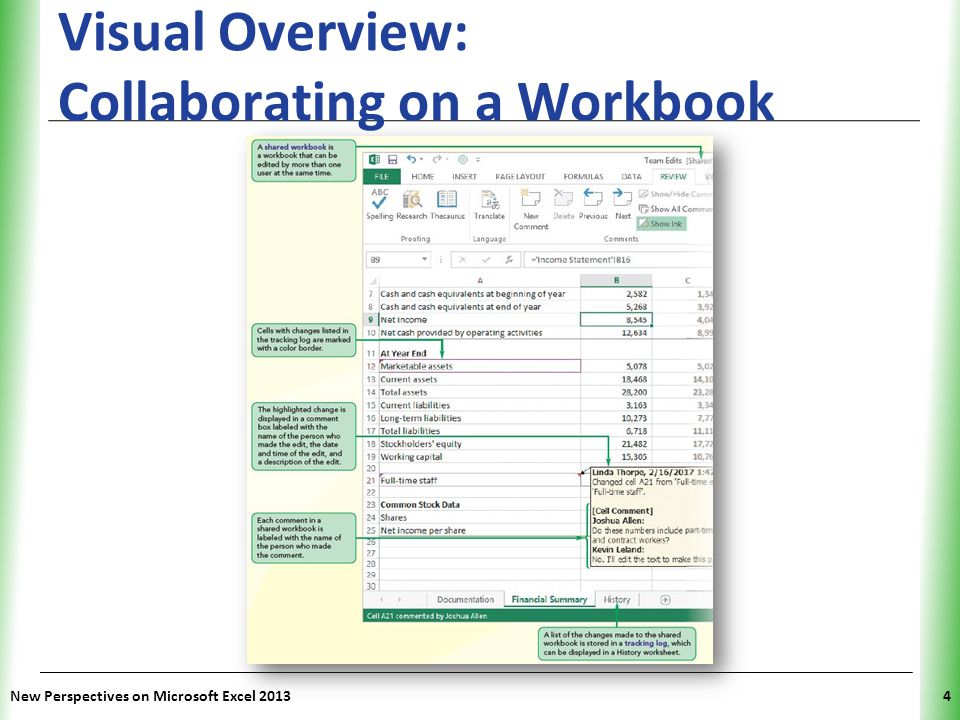 XP Visual Overview: Collaborating on a Workbook New Perspectives on Microsoft Excel 20134