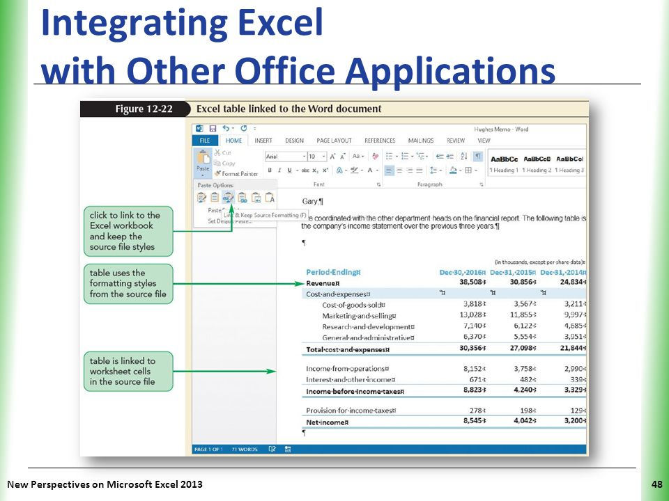 XP Integrating Excel with Other Office Applications New Perspectives on Microsoft Excel 201348