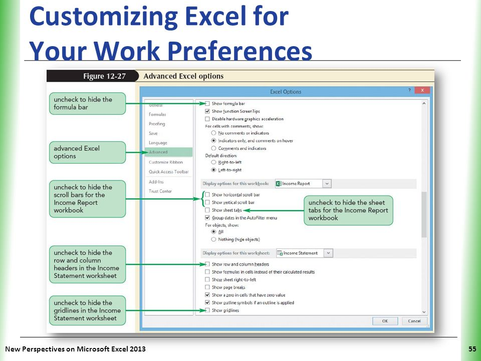 XP Customizing Excel for Your Work Preferences New Perspectives on Microsoft Excel 201355